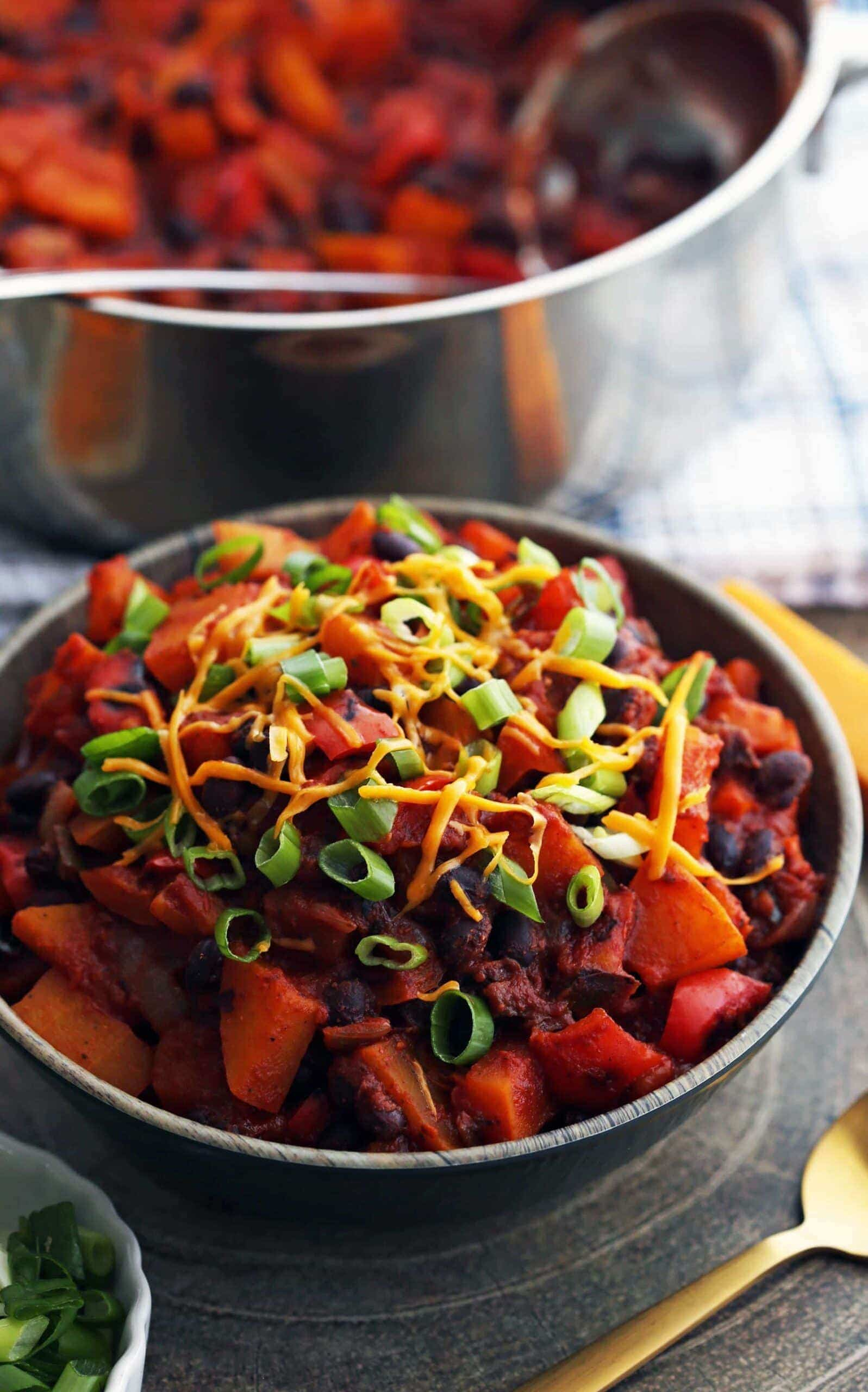 Roasted Butternut Squash and Black Bean Chili