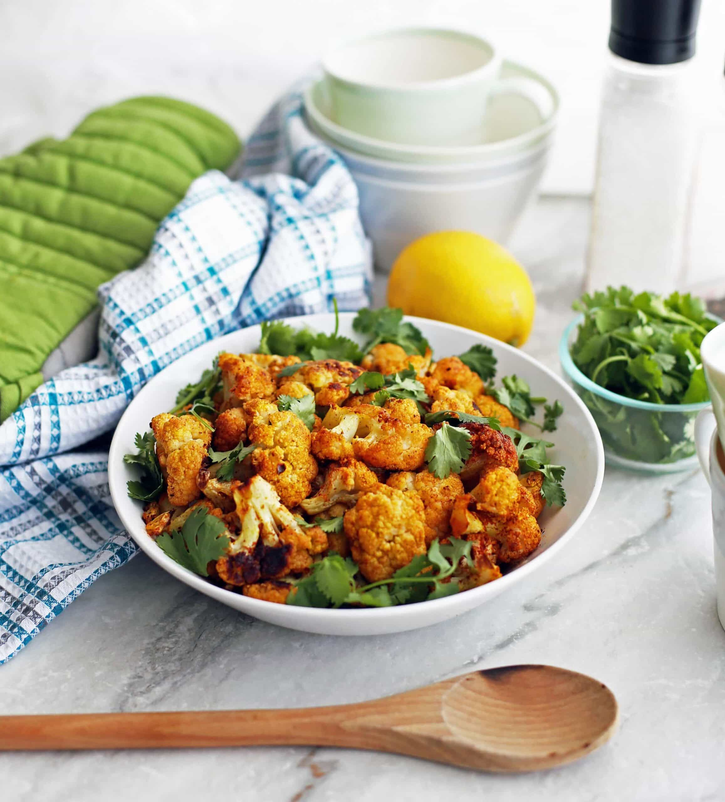 Roasted Spicy Cauliflower with Paprika and Turmeric