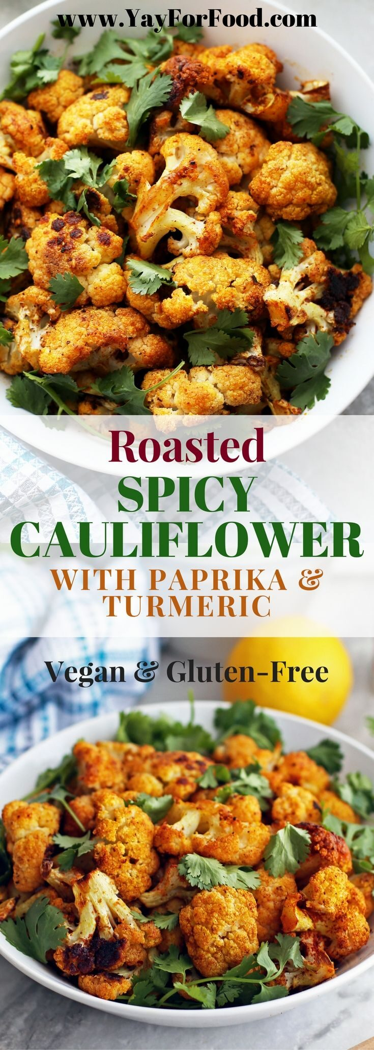 This tasty roasted spiced cauliflower side dish is easy, flavourful, and healthy. It's naturally vegan and gluten-free too.