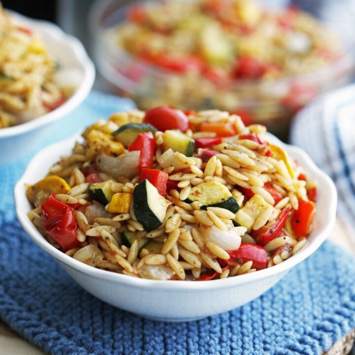 Roasted Vegetable Orzo Pasta Salad with Dijon-Balsamic Vinaigrette