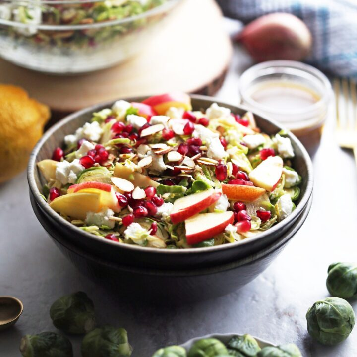 Shaved Brussels Sprouts and Pomegranate Salad with Lemon Balsamic Vinaigrette