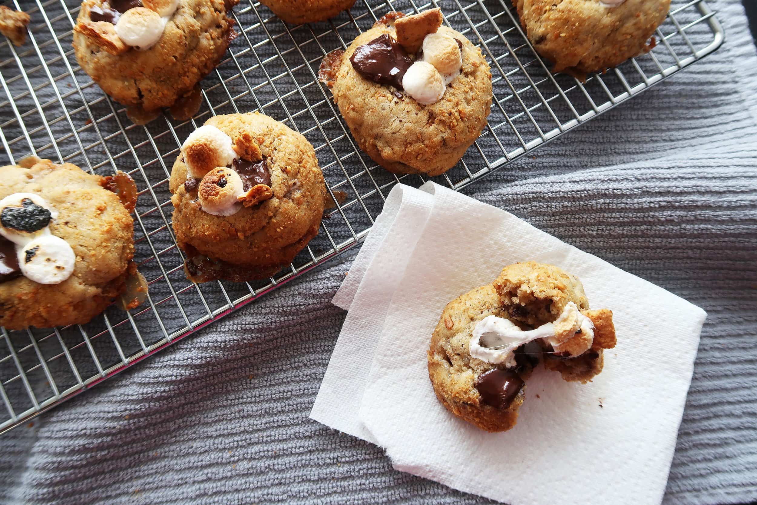 A Soft and Chewy S'more Cookie pulled apart.