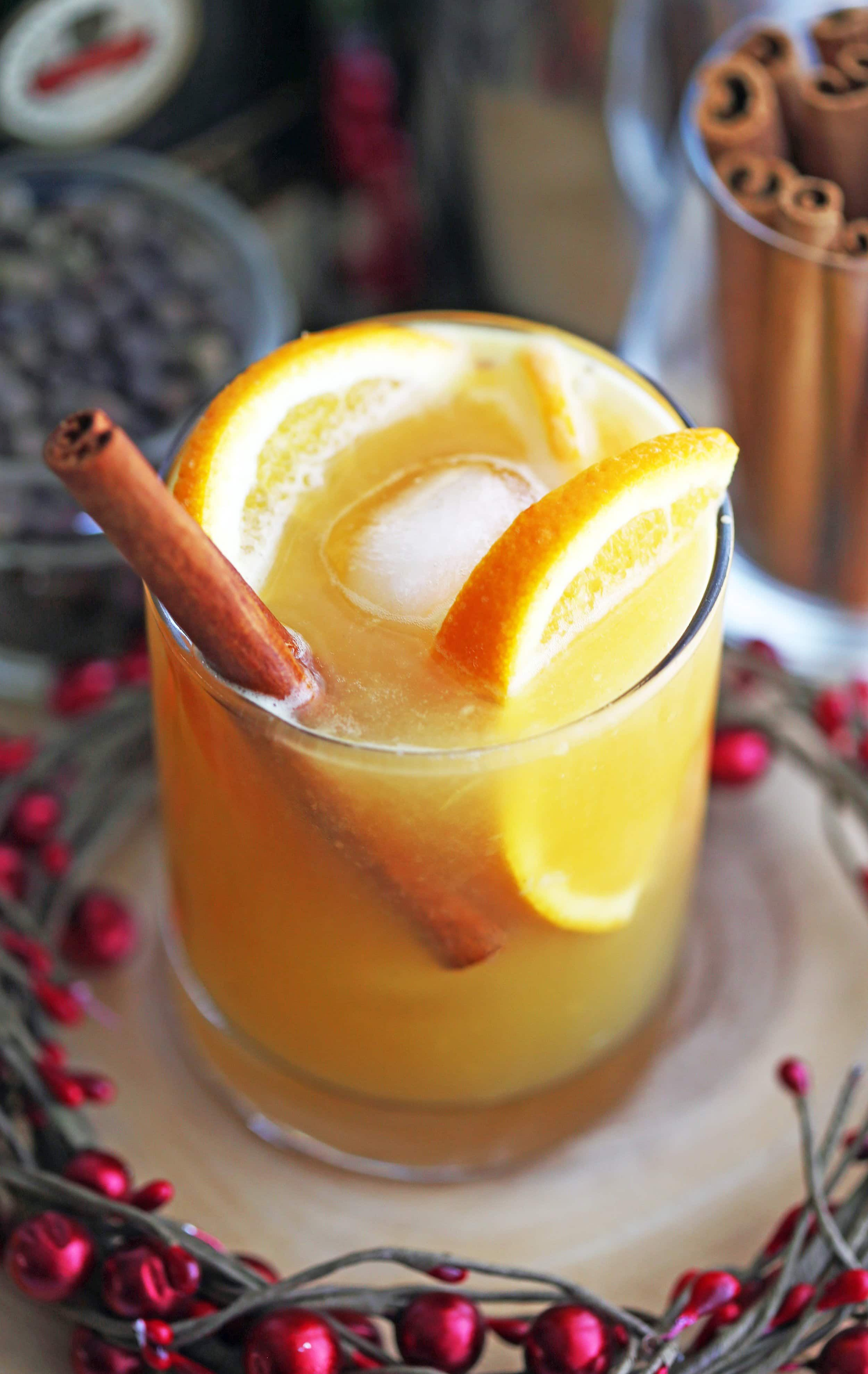 A closeup of a spiced orange brandy spritzer cocktail garnished with orange slices and a cinnamon stick in a glass.