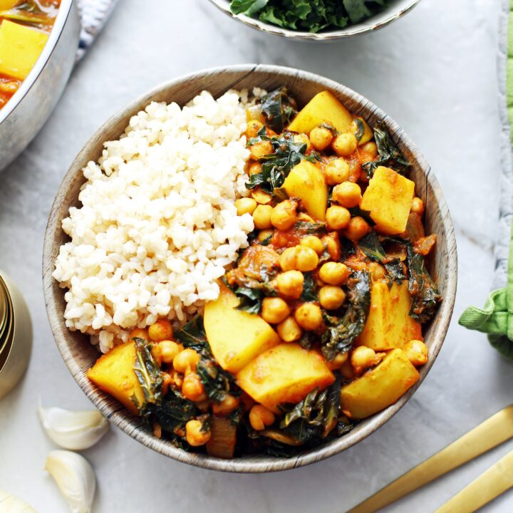 Spicy Chickpea Kale and Potato Curry