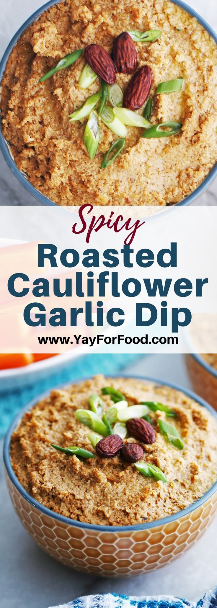 Check out this delicious and flavourful vegan dip made with roasted cauliflower, garlic, spices, and more! This easy appetizer is perfect to serve with vegetables, crackers, and pita chips!