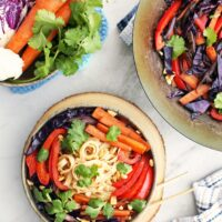 Easy Stir-Fried Vegetables and Noodles with Peanut Butter Sauce