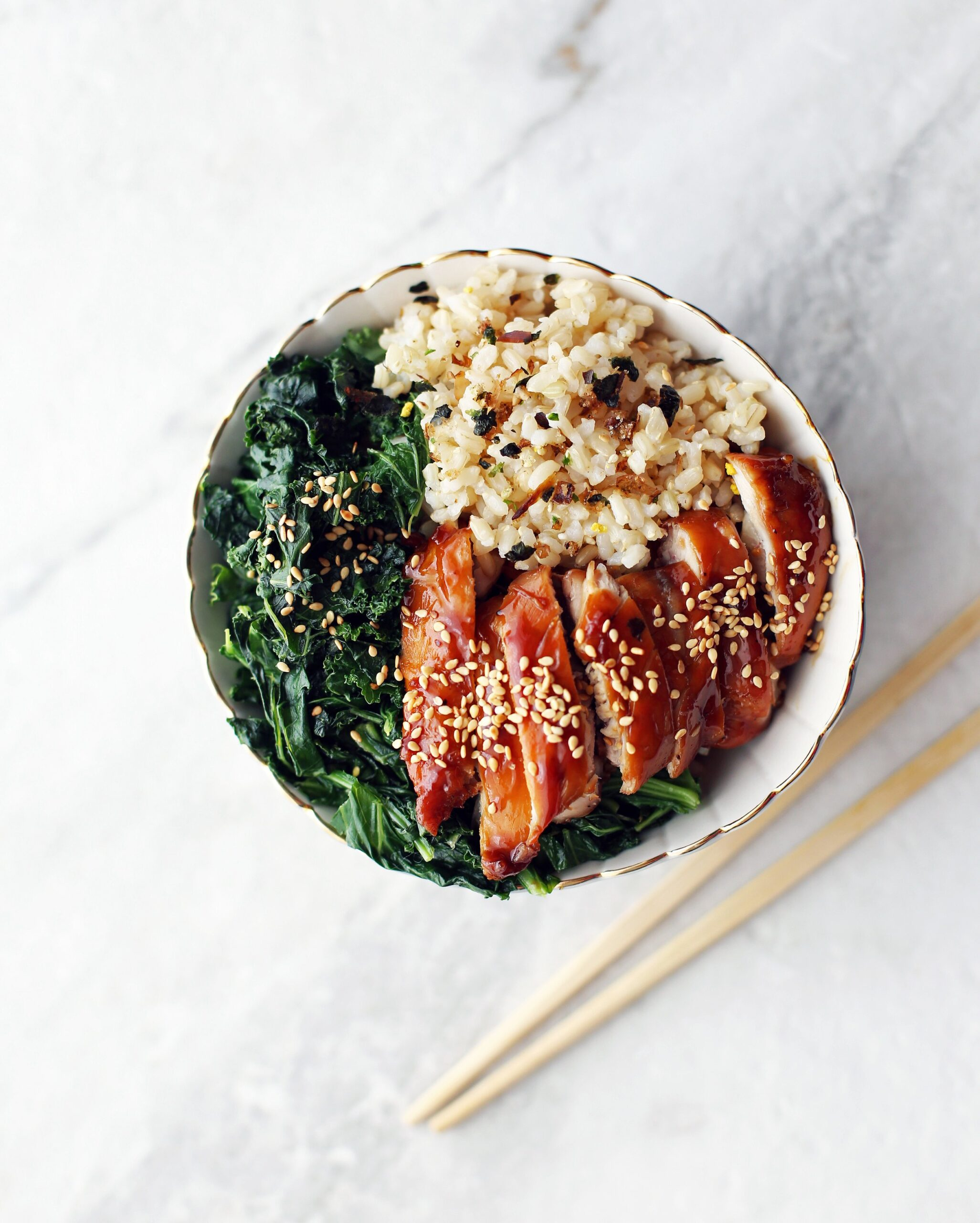 Teriyaki Chicken Rice Bowls with Garlicky Kale