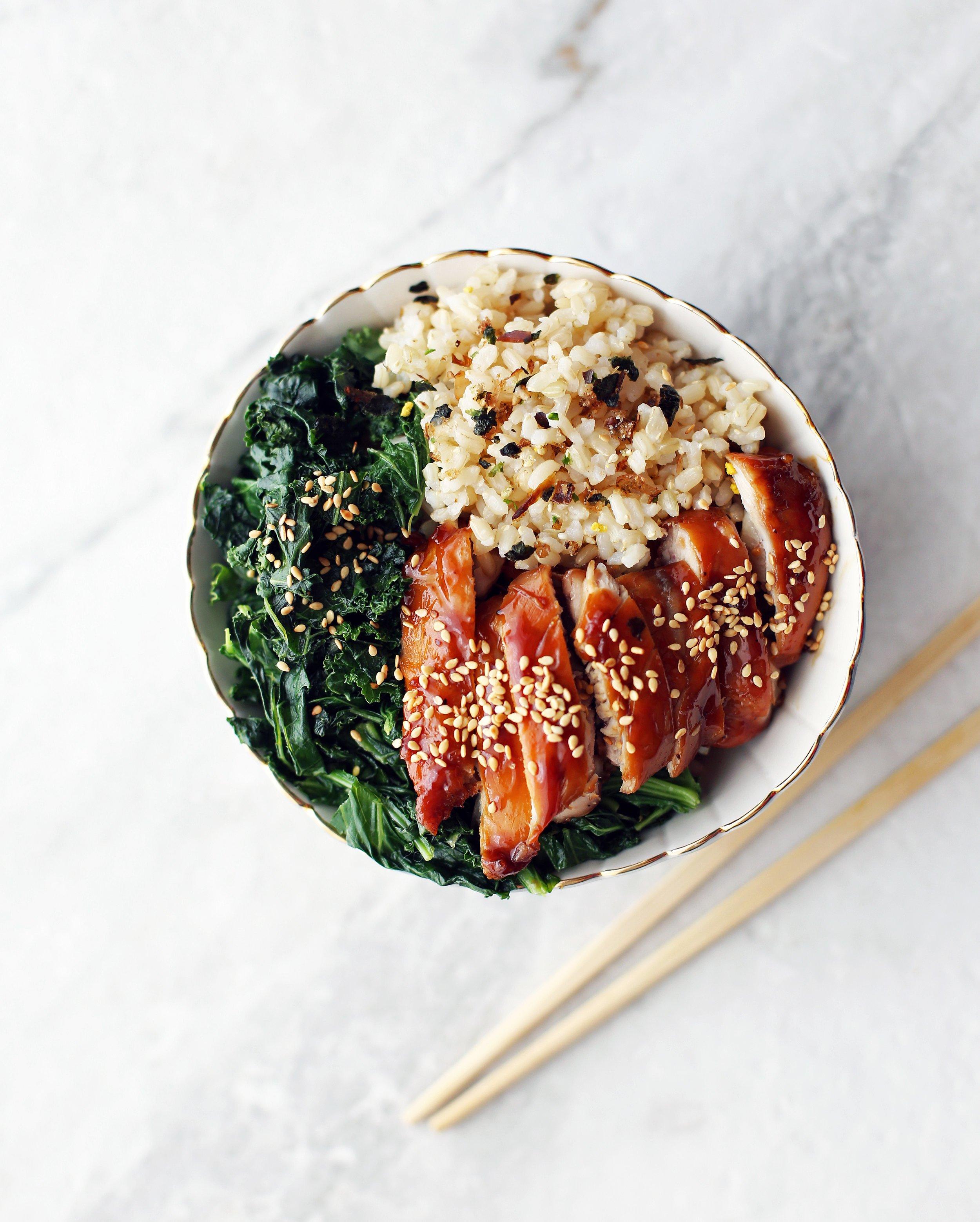 Teriyaki Chicken Rice Bowls with Garlicky Kale
