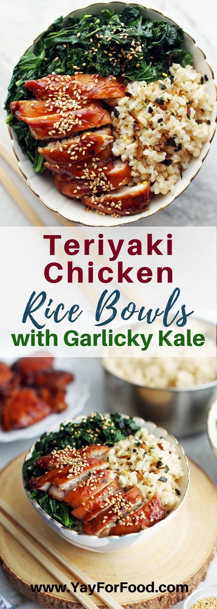 A healthy, flavourful, and easy-to-make rice bowl with scratch-made teriyaki chicken thighs and leafy green kale with garlic! Everything is ready in less than a hour too.