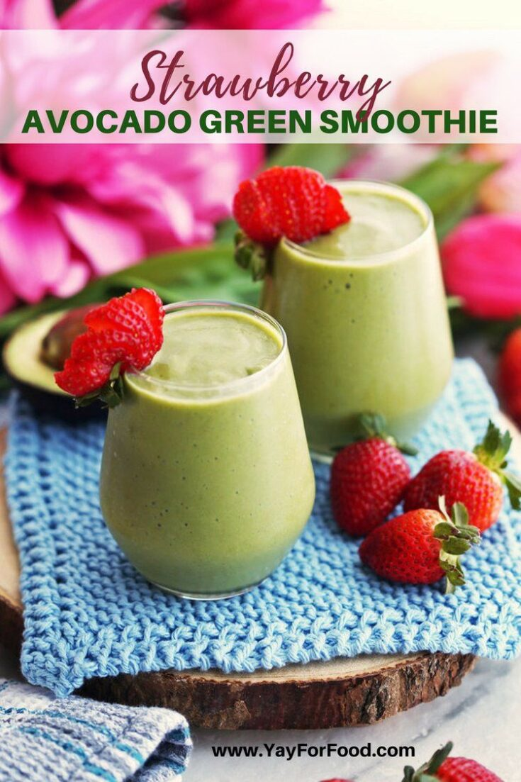 Creamy and delicious! This refreshing green smoothie features fresh strawberries and avocado that will give you a healthy energy boost for the day!
