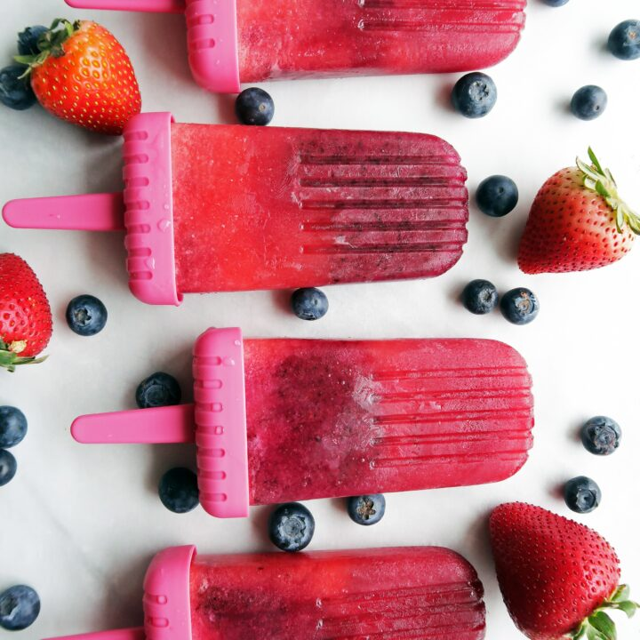 Strawberry Blueberry Coconut Water Popsicles