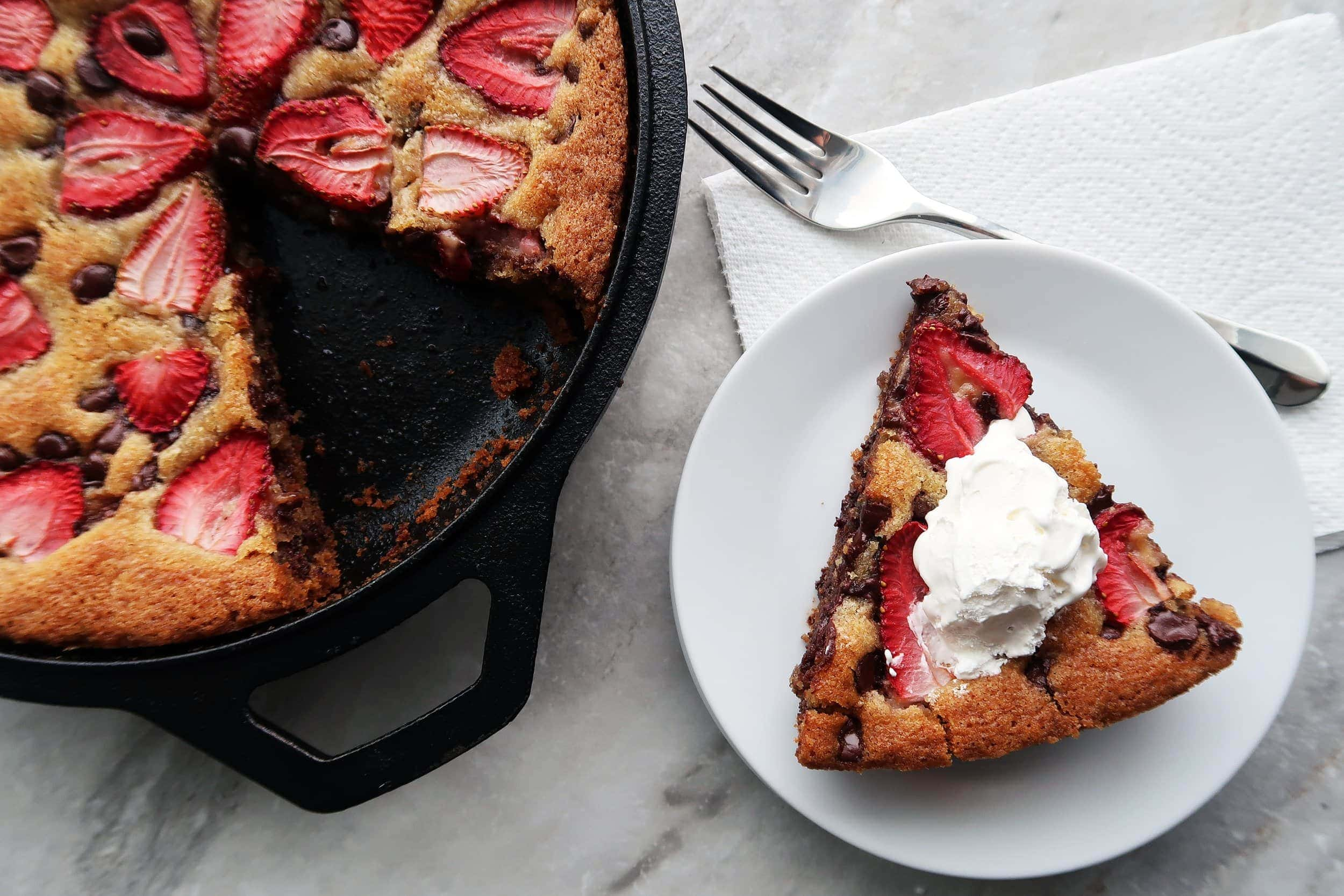 Strawberry Chocolate Chip Skillet Cookie