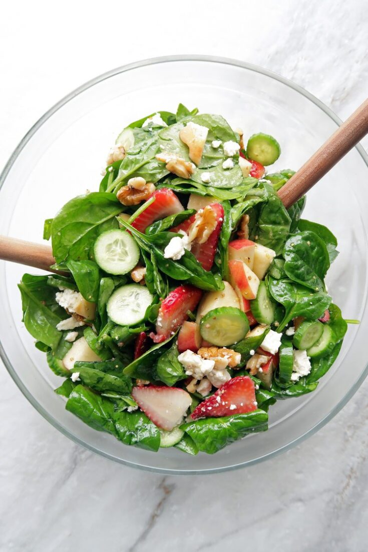 Strawberry Cucumber Spinach Salad With Apple Cider Vinaigrette Yay For Food