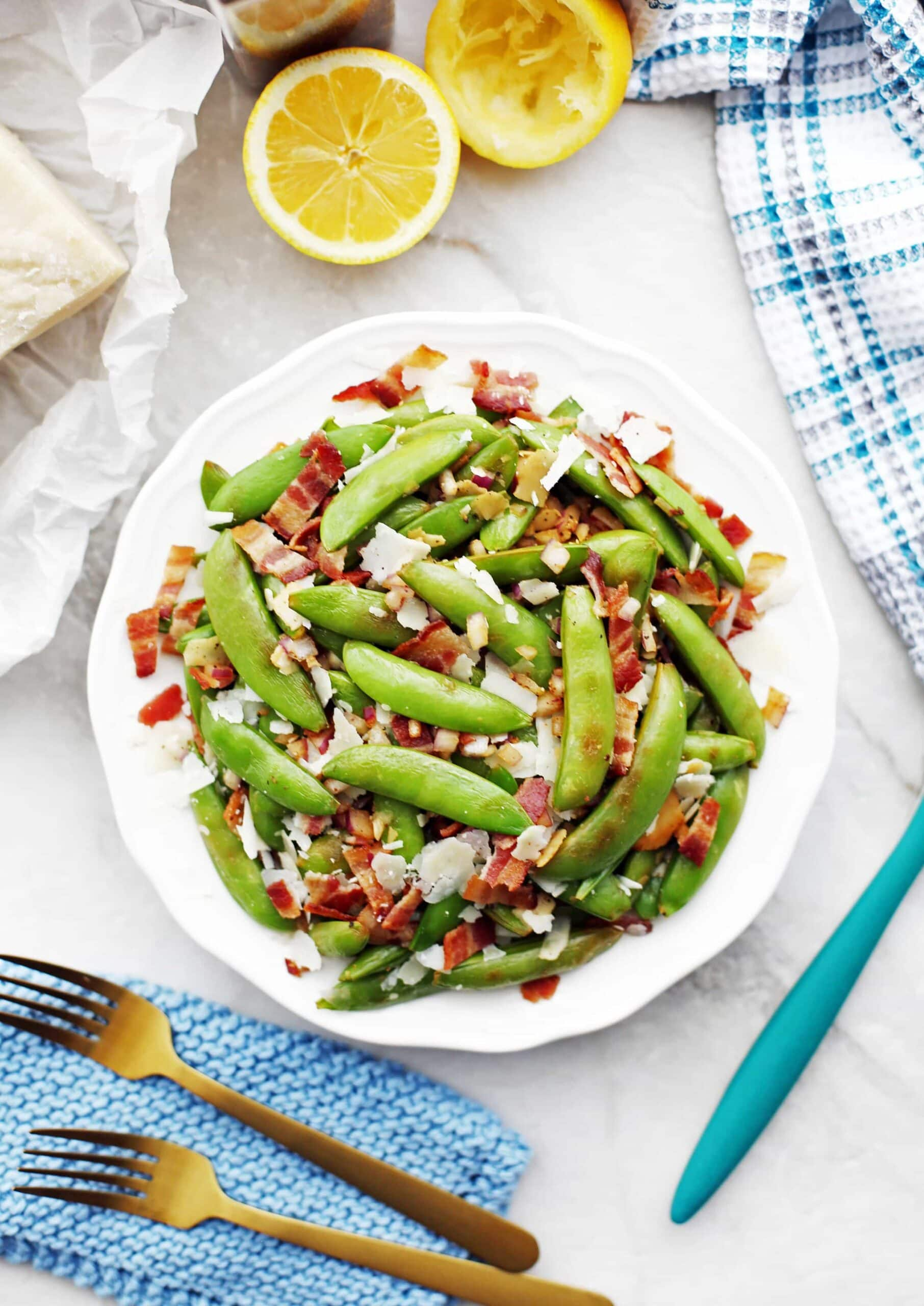 Sugar Snap Peas with Bacon and Parmesan