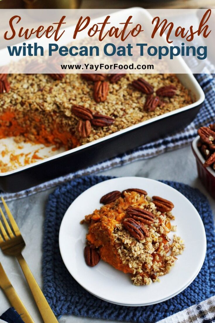 A sweet potato recipe with a healthier twist. The citrus flavour of orange complements the natural sweetness of this holiday side dish. Oats and pecans bring additional texture to the mash.