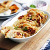 Roasted Sweet Potato Cream Cheese Potstickers (Dumplings)