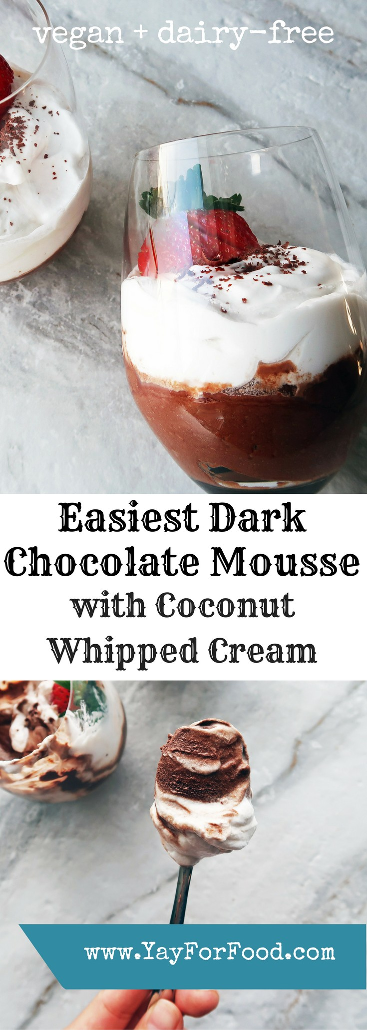 All you need is chocolate and water and you can make creamy, rich mousse in minutes. Top it off with coconut whipped cream for extra decadence!It's dairy-free and vegan too!