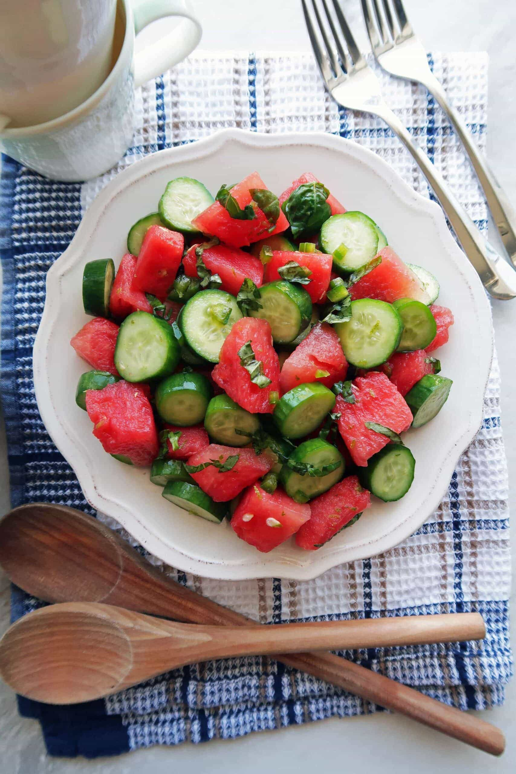 Watermelon Cucumber Jalapeño Salad