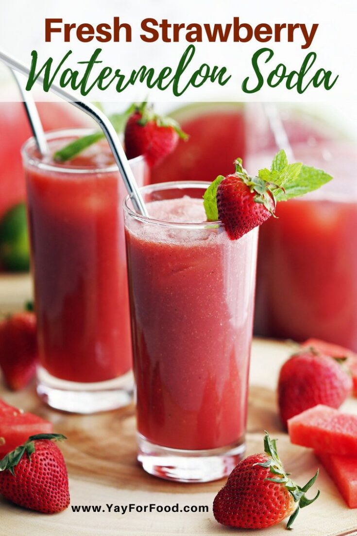 A refreshing blend of watermelon and strawberry. This easy soda recipe is the perfect drink to cool you down on a warm summer day.