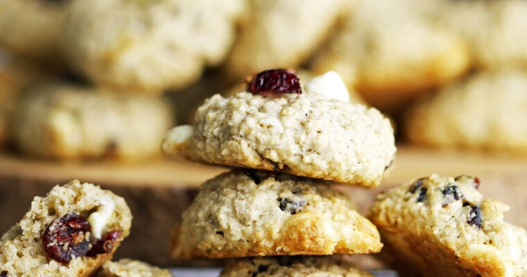 White Chocolate Cranberry Oatmeal Cookies