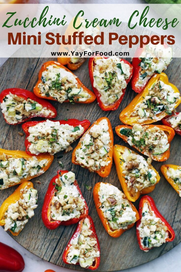 Delicious cream cheese and sweet vegetables are the perfect filling for this mini stuffed bell pepper recipe. A quick and colourful vegetarian appetizer or side dish that's gluten-free too!